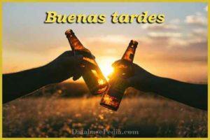 buenas tardes imagen con botella de cerveza