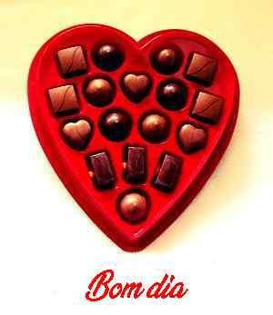bom dia romântico com fotos de chocolate de coração
