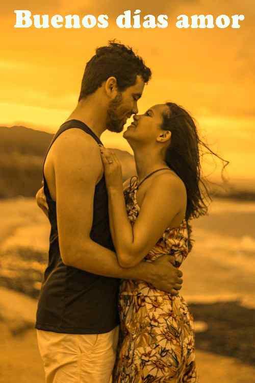 imagen de pareja romántica con fondo de pantalla de buenos días